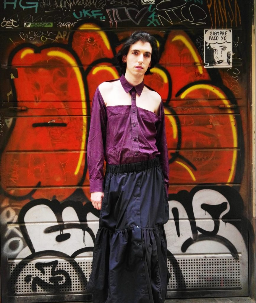 gender neutral sustainable skirt created from 3 discarded shirts combined with a a re-designed shirt