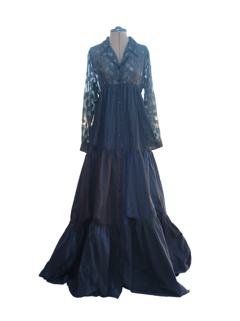 evening dress created from 7 shirts, sustainable chic